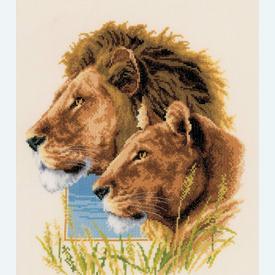 Lion Couple - borduurpakket met telpatroon Vervaco |  | Artikelnummer: vvc-143773