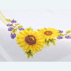 Sunflowers theenap - voorgedrukt borduurpakket - Vervaco |  | Artikelnummer: vvc-21761