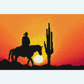 Cowboy in the Sunset 1 - borduurpakket met telpatroon Nafra |  | Artikelnummer: nf-nafra21012