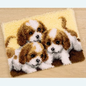 3 Puppies - knooptapijt Vervaco  | Smyrna tapijt met hondjes | Artikelnummer: vvc-147227