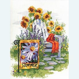 Summer Garden Flag - borduurpakket met telpatroon Janlynn  |  | Artikelnummer: jl-023.0615