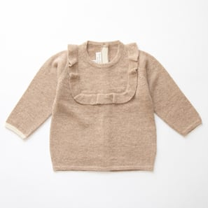 Girl's Jumper with Frill  | 100% Cashmere, Colour: Beige Mélange | Code: 0718BJ080102XXX