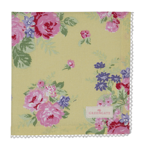 Greengate Rose | Napkin with lace Rose yellow, Stoffserviette 40 x 40 cm, Zwischenkollektion, limited Edition | Artikelnummer: COTNAPWLROS4908