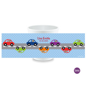 Kinderbecher, Kindertasse mit Namen Autos Dots  |  | Artikelnummer: kitassautos