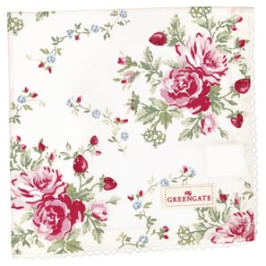 Greengate Napkin with lace Mary white    | Napkin with lace, Stoffserviette mit Spitze, 40 x 40 cm | Artikelnummer: COTNAPWLMRY0108