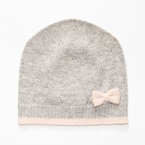 Hat with Ajour and Bow | 100% Cashmere, Colour: Light Grey Mélange (rosé) | Code: 0117AH40181XXX