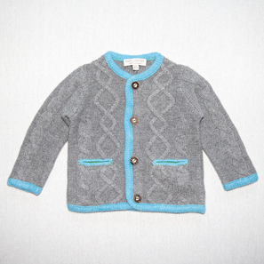 Aran Cardigan | 100% Cashmere, Colour: Dark Grey Mélange (with Air Blue) | Code: 0716BC030182XXX