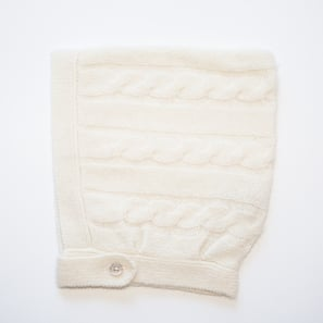 Baby Cap with Cable Pattern  | 100% Cashmere, Colour: Natural White | Code: 0718AH170101XXX
