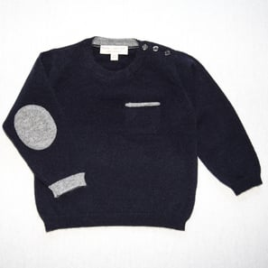 Jumper with Elbowpatches | 100% Cashmere, Colour: Dark Navy | Code: 0717BJ030156XXX