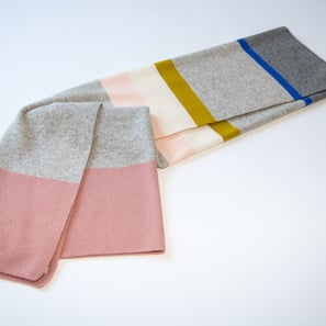Cashmere Baby Blanket with Stripes | 100% Cashmere, Colour: Light Grey Mélange & Colours | Code: 0715IB080181