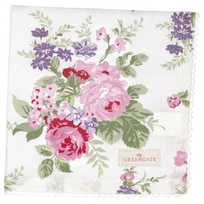Greengate Rose white | Napkin with lace Rose white, Stoffserviette mit Spitze, 40 x 40 cm | Artikelnummer: COTNAPWLROS0108