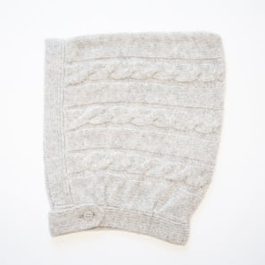 Baby Cap with Cable Pattern  | 100% Cashmere, Colour: Light Grey Mélange | Code: AH17018181XXX