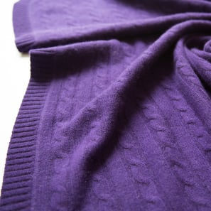 Cashmere Cable Blanket with Hood | 100% Cashmere, Colour: Lilac | Code: 0716IB060141X