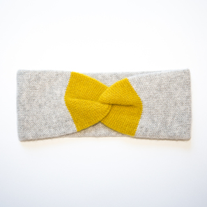 Headband with Twist Knot | 100% Cashmere, Colour: Light Grey Mélange | Code: 0718AH190181XXX