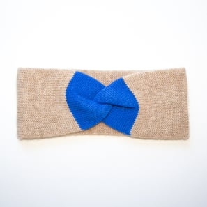 Headband MAXIME with Twist Knot | 100% Cashmere, Colour: Beige Mélange (with Sapphire) | Code: AH1901807495XXX