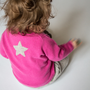 Cardigan with Star, b) 6 months/68 cm | 100% Cashmere, Colour: Pink | Code: 0714BC010132068