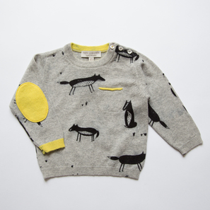 Jumper with Fox Print | 100% Cashmere, Colour: Light Grey Mélange | Code: 0716BJ0401810XX