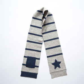Scarf with Star and Pocket | 100% Cashmere, Colour: Light Grey Mélange | Code: 0715AS010181XXX
