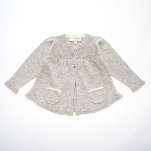 Ajour Cardigan A-Shape | 100% Cashmere, Colour: Light Grey Mélange | Code: 0117BC030181XXX