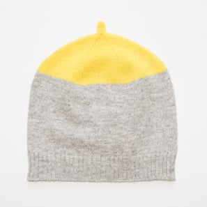 Hat with Colour Block | 100% Cashmere, Colour: Light Grey Mélange with Lemon Yellow | Code: 0117AH12111XXX