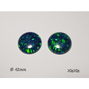 2 Stk. synth. Opale 12mm  Cabochon Peacock |  | Artikelnummer: 2