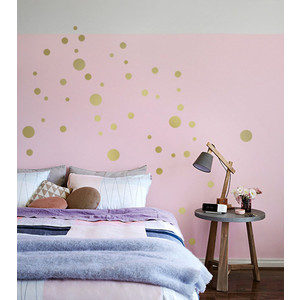 GOLD KONFETTI MIX 48 Metallic Wandsticker Punkte  | Wandtattoo Dots-Mix | Artikelnummer: 110463279