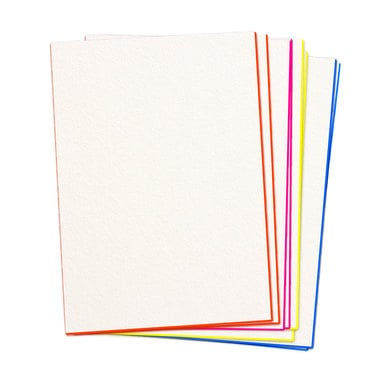 Knalliges Kartenset mit Neonfarbschnitt / 16 x Single Card with Fluorescent Edging | je 4 x Orange, Pink, Gelb & Blau / Orange, Pink, Yellow & Blue (4 of each) | Artikelnummer: hoeflich_neonkarten