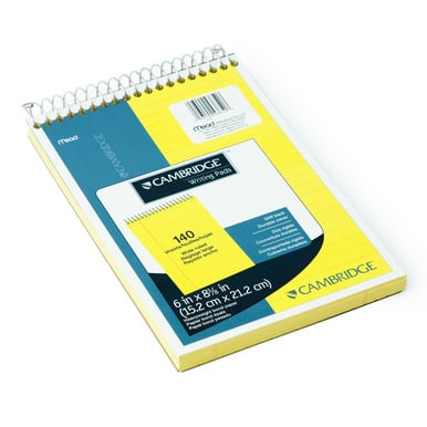DIN A5+  – Legal Pad mit Spiralbindung / Legal pad spiral bound - cambridge Block | 12 Stück / 12 - pack | Artikelnummer: 43852-12