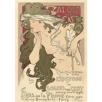Salon des Cent. XXme. Exposition du Salon des Cent. Hall de la Plume. Paris | Advertising Poster 1896 | Artikelnummer: POD-PI-4456-A4S