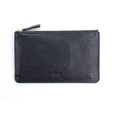 Portemonnaie / Zipper Wallet JUNE by UMUOTO | Schwarzes Leder / Black leather | Artikelnummer: JUNE_schwarz_genarbt