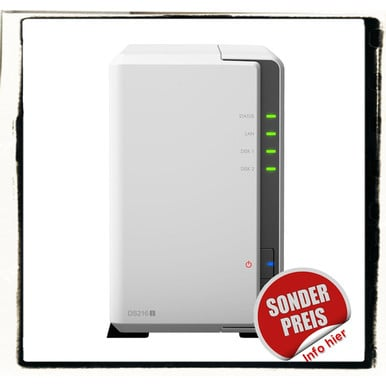 Synology DS216j incl. 4TB (2 x 2TB) HDD NAS RAID Server Bundle | ab Lager lieferbar! | Artikelnummer: DS216j 2-Bay 4TB