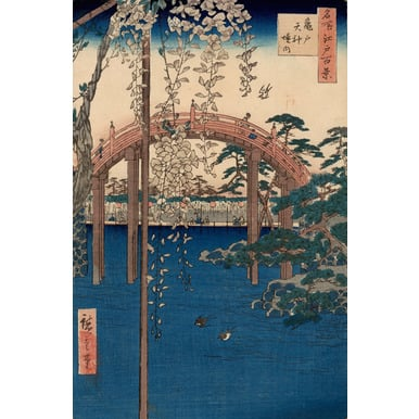 100 famous views of Edo | Compound of the Tenjin Shrine at Kameido | Artikelnummer: PODE-KI-10972