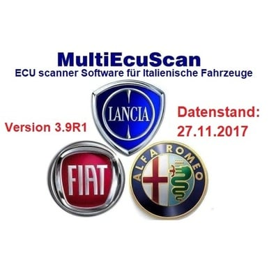 Fiat Multiecuscan 3.9R1 incl. Patch, Mehrsprachig Version vom 27.11.2017, Multiecuscan = Multi-ECU Scan | Alle Windows Systeme, Voll Registrierte Version | Artikelnummer: 000001074