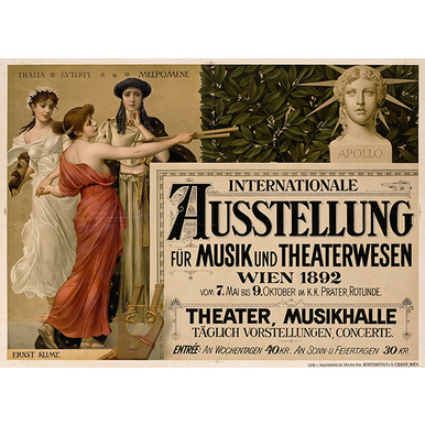 Advertising poster 1892 | Internationale Ausstellung für Musik und Theaterwesen | Artikelnummer: PODE-PI-1726-A2