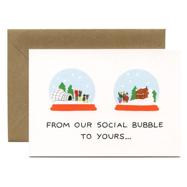 Schneekugel Weihnachtskarte / Social Bubble Festive Greeting Card | Illustration by Holly St Clair | Artikelnummer: wrap_holly1
