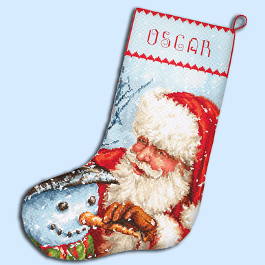 Christmas Stocking - borduurpakket met telpatroon Letistitch |  | Artikelnummer: leti-921