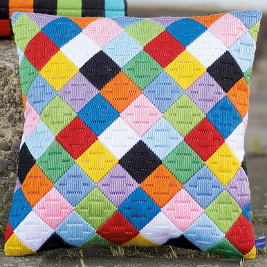 Bargello - Colourful Diamonds - Vervaco platsteek kussen |  | Artikelnummer: vvc-156326