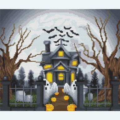 Halloween Manor - Borduurpakket met telpatroon Orcraphics |  | Artikelnummer: orc-2019-02-53