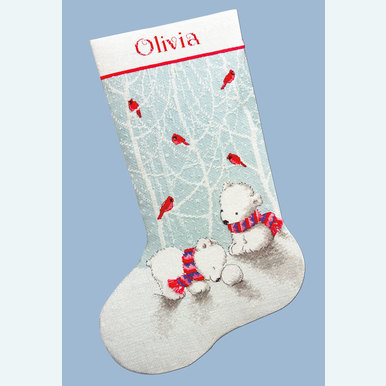 Snow Bears Stocking - borduurpakket met telpatroon Dimensions |  | Artikelnummer: dim-70-08902
