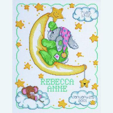 Crescent Moon Birth Announcement - borduurpakket met telpatroon Janlynn |  | Artikelnummer: jl-063.0102