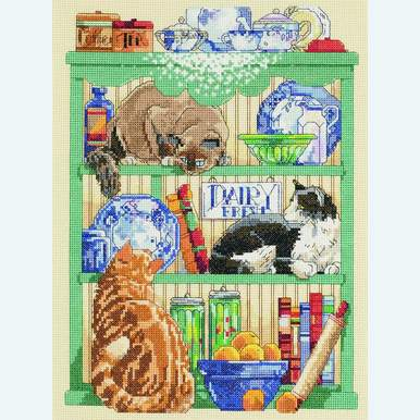 Cats in the Kitchen - borduurpakket met telpatroon Janlynn |  | Artikelnummer: jl-023.0316