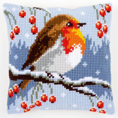 Red Robin in Winter - Vervaco Kruissteekkussen |  | Artikelnummer: vvc-149810