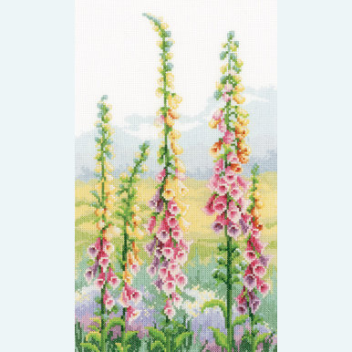 Foxgloves at Dawn - handwerkpakket met telpatroon Vervaco |  | Artikelnummer: vvc-146870