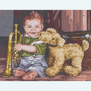 The Little Trumpet Player by Kim Anderson - bundel van geschilderd stramien + borduurwol, te borduren in halve kruissteek |  | Artikelnummer: rp-176-082-bundel