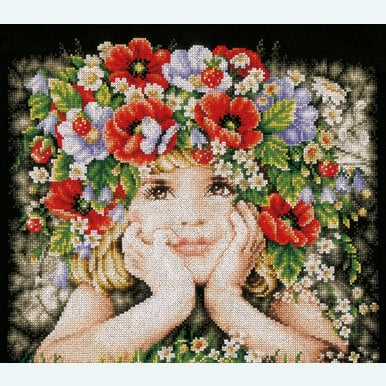 Girl with Flowers - borduurpakket met telpatroon Lanarte |  | Artikelnummer: ln-156698
