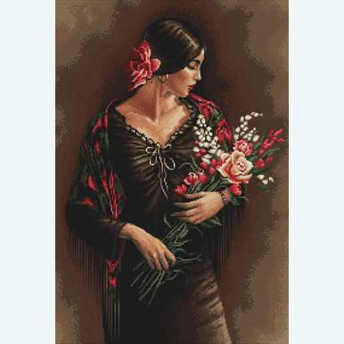 Spanish Woman with Bouquet - kruissteekpakket met telpatroon Luca-S |  | Artikelnummer: luca-b473
