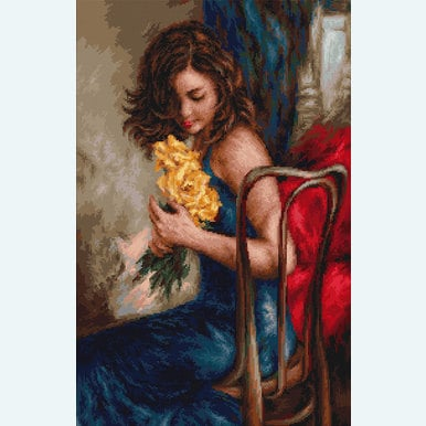 Woman with Yellow Roses - kruissteekpakket met telpatroon Luca-S |  | Artikelnummer: luca-b532