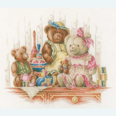 Teddy Bears and Toys - borduurpakket met telpatroon Lanarte |  | Artikelnummer: ln-168381