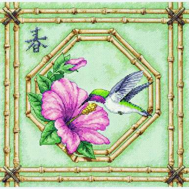 Humming Bird and Bamboo - borduurpakket met telpatroon Dimensions |  | Artikelnummer: dim-13707