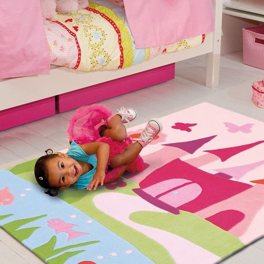 kinderteppich m rchenschloss hochfloriger teppich f r ihr kinderzimmer. Black Bedroom Furniture Sets. Home Design Ideas